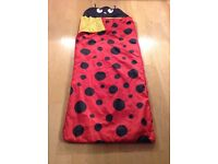Childs ladybird red single sleeping bag. Clean very good condition
