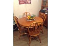 Pine wooden dinning extending table 4 chairs