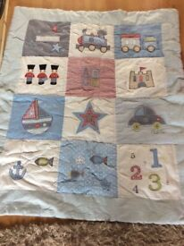 Boys patch work style cot/cot bed quilt.