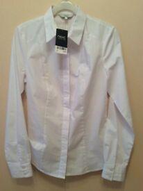 NEXT WOMENS WHITE SHIRT SIZE 8 PETITE NEW WITH TAGS