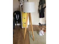 Solid Wooden Tall Lamp - needs tinkering with!