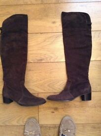 Over knee brown suede boots Italian hand made