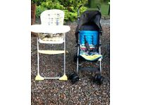 Joie High Chair and Mamas and Papas pram