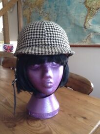 1960s dogtooth check mod scooter helmet