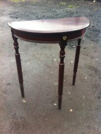 Reproduction vintage demilune console table in great condition