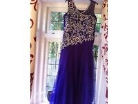 Purple long net dress with embroidery size 14 for wedding party - Asian outfit