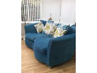 Two seater sofa with matching footstool