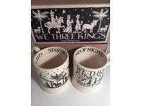 "Emma Bridgewater box set of two ""We Three Kings"" 1/2 pint mugs"
