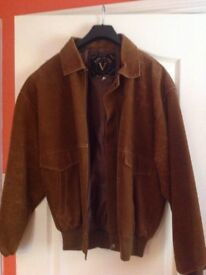 MENS SUEDE LIGHT TAN BOMBER JACKET LIKE NEW
