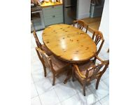 Large Oval Kitchen or Dining Table + 6 Chairs