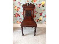Antique chair mahogany church carving shaped hallway bedroom living room