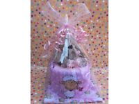 Pink baby single tier nappy cake
