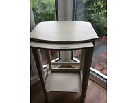 Shabby chic hand painted and waxed nest of tables