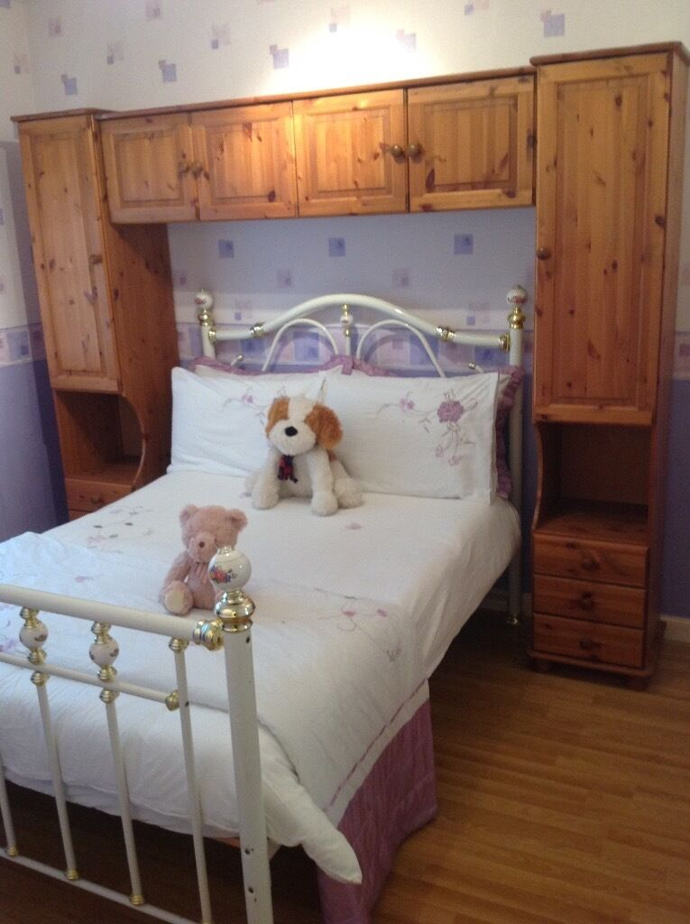 Solid pine over the bed unit storage beside cabinets £80 for