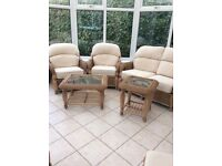 Conservatory chairs, settee, side tables & dining table and chairs