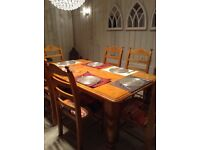 Huge Stunning Solid Pine Dining Table & 6 Chairs Brand New American DinerUpholstery