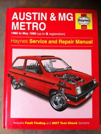 Haynes manual, Austin & MG Metro 80-90