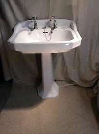 White Heritage pedestal wash basin and taps