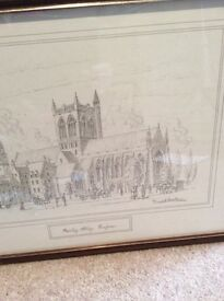 FRAMED AND SIGNED PENCIL DRAWING OF PAISLEY ABBEY BY DAVID HAWKER £25 for quick sale