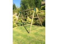 Childrens swing double swing timber poles made by Plum