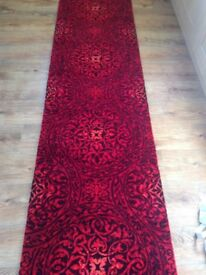 Stair Carpet Runner for Stairs Hallway or Landing - hessian backed - beautiful red persian design