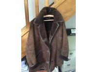 Rich chocolate coloured pure sheepskin ladies coat