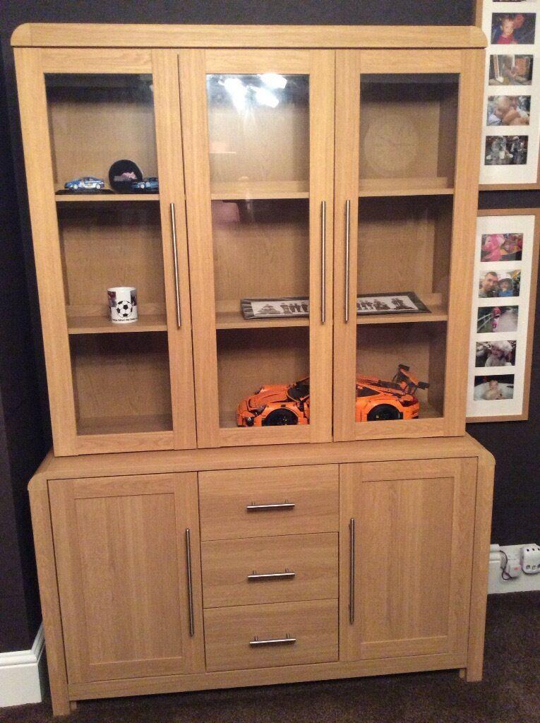 Heart Of House Elford 5 Door 3 Drawer Display Cabinet Oak