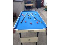 Used kids foldable pool table with pool balls, triangle, chalk and cues.