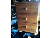 2 x 3 Drawer Pine Bedside Cabinets