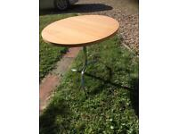 Wooden table metal base