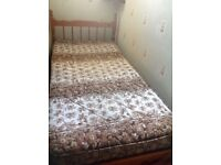 Pine single bed plus mattress