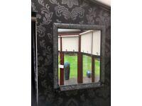 Black crackle glaze mirror