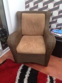 Large Rattan chair and footstool