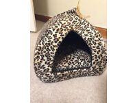 Leopard print cat igloo