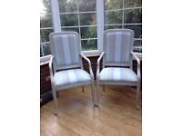 Two M&S Cheltenham armchairs and two upright chairs.