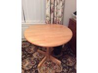 Teak /pine round dropleafe table
