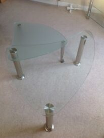 Glass coffee table with swing out extension