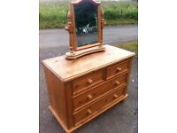 Stunning vintage quality chunky pine two over two pine chest of drawers with awesome mirror