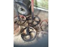 For sale cast iron shepherds hut / hen house wheels from £10 each