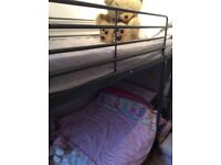Ikea metal silver frame bunk beds with mattresses