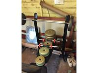Macey weight bench with weights and bars