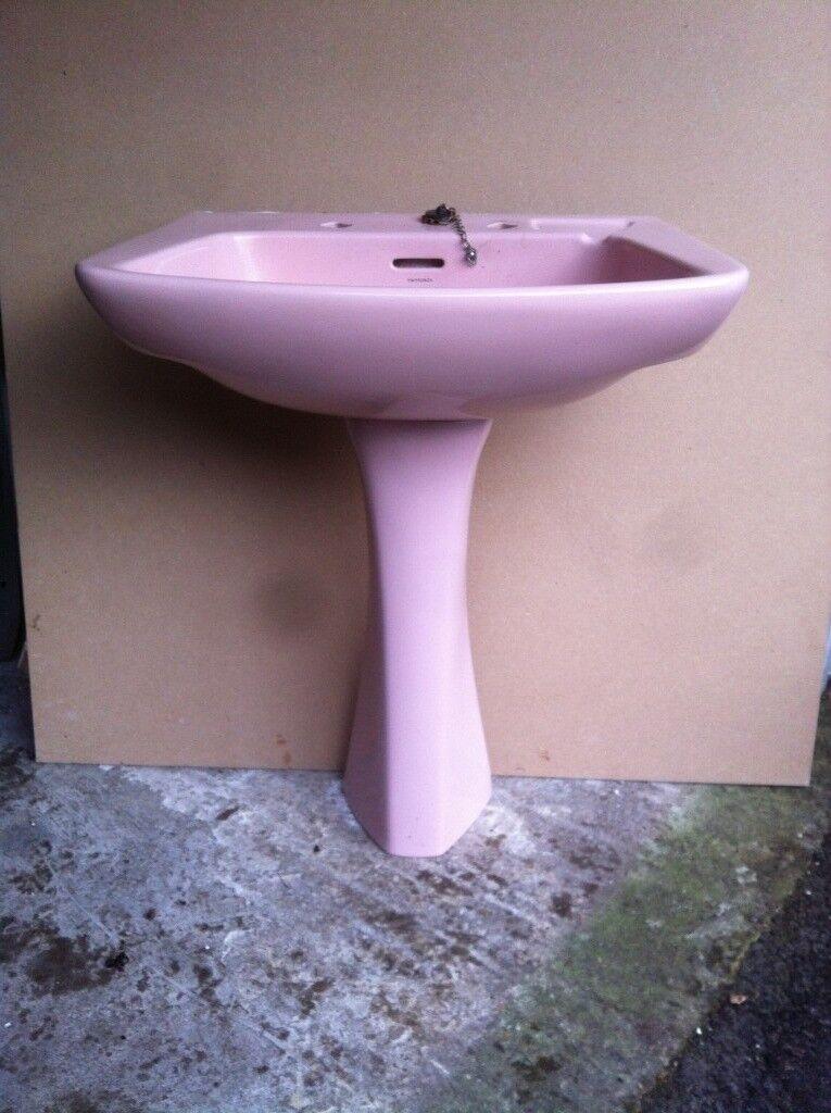 Clic Retro Vintage Pink Pedastel Bathroom Sink