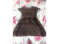 New look stain glass pattern skater dress size 8