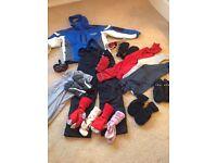 Childrens ski wear jacket, ski pants, under layers,goggles,gloves,socks