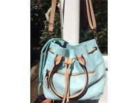 Light Teal textured leather hand and shoulder bag additional shoulder strap.