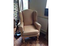 High backed armchair. As new.