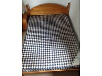 Pine double bed and mattress for sale