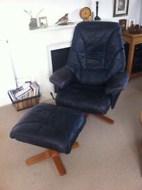 Retro fine leather reclining chair and stool - navy supple leather (no rips), beechwood base