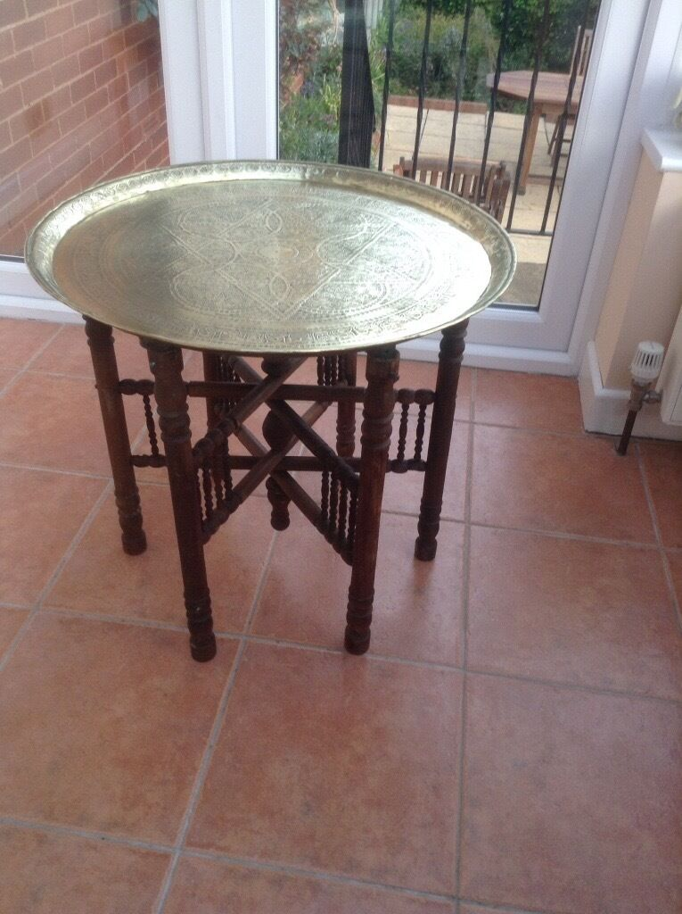 Antique Indian Brass Top Coffee Table
