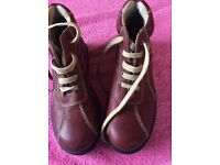 Girls lace up red boots size 33